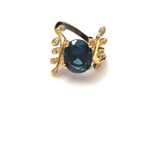 Blue Topaz Black Gold Ring 925